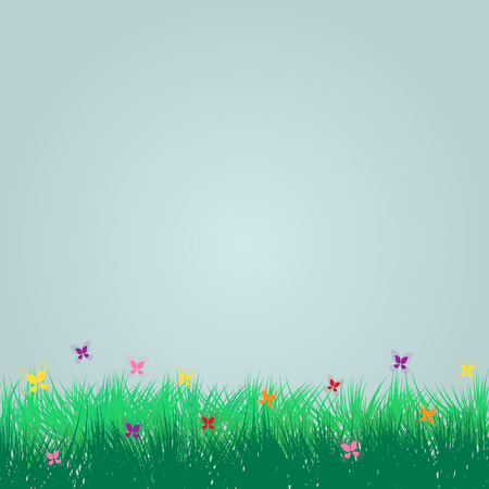 Spring and summer background with grass and butterfly vector card