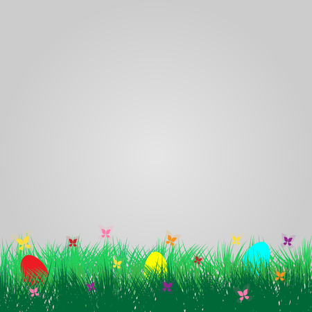 Spring and summer background with grass, easter egg and butterfly vector card