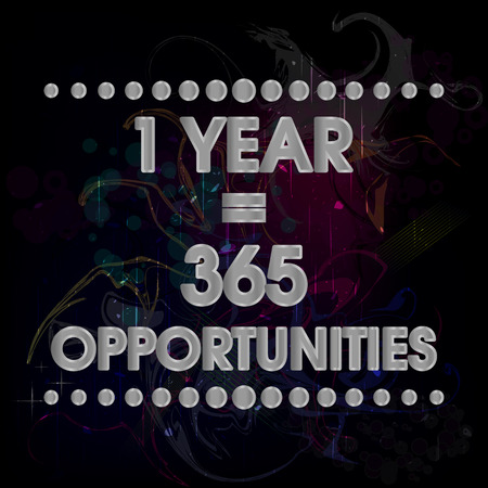 stronger: 1 Year 365 Opportunities Vector Silver Abstract Colorful Grunge Motivation Quote Poster. Typography Background