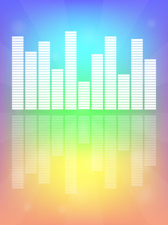 color scale: Audio level white on Rainbow background LED from Music Studio with reflection Vector. Color scale equalizer Vector. Music decibel Vector.