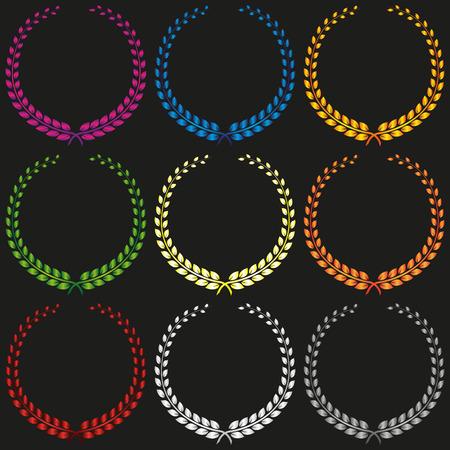 Set of Colorful Gradient Vector Laurel Wreath Stock Illustratie