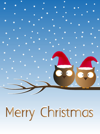 Merry Christmas Owl Card Vector Gradient Background Illustration