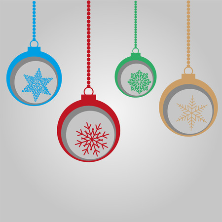Merry Christmas Card with Bulb, Ball and Snowflakes Vector Stock Illustratie
