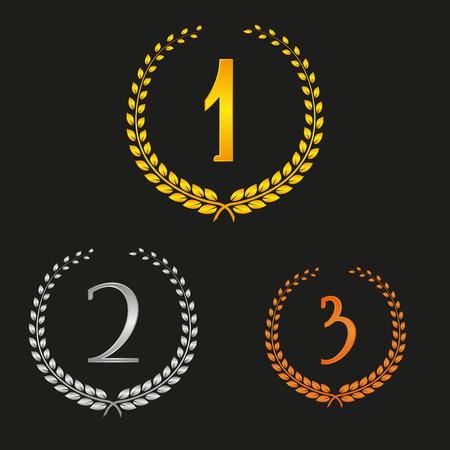 Winner Set of Gold, Silver and Bronze Laurel Wreath Vector