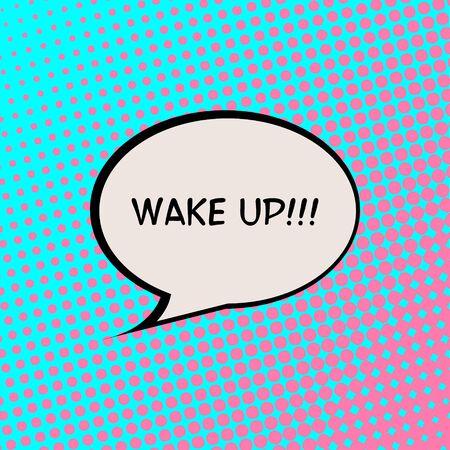 Wake Up Comics Halftone Background Motivation Quote Poster Typography Vector Vektorové ilustrace
