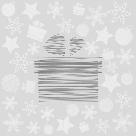 Merry Christmas card with Scrawled Gift Box Vector