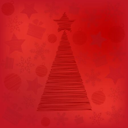 Merry Christmas card with Scrawled Tree Vector Çizim
