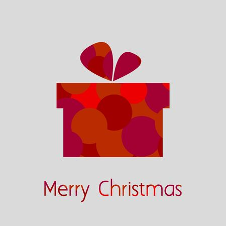 Merry Christmas Card with Gift Box of Bubbles Vector