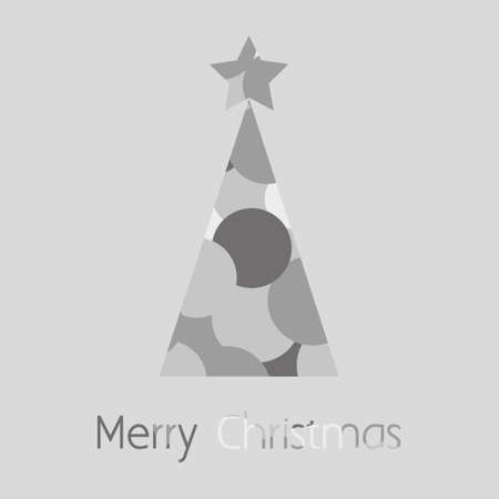 Merry Christmas Card with Tree of Bubbles Vector Illustration