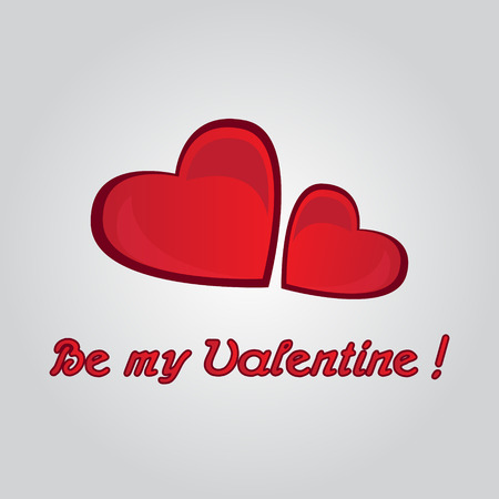 be: Be My Valentine card with two hearts love vector