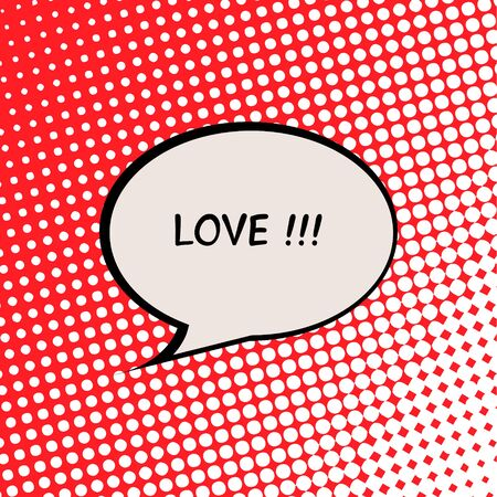 Love Valentine Card with Comics Halftone Effect