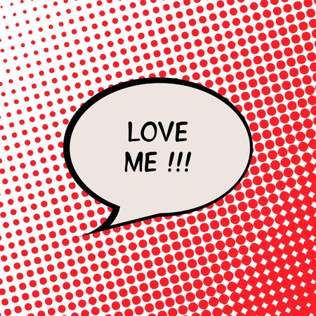 Love Me Valentine Card with Comics Halftone Effect Illustration