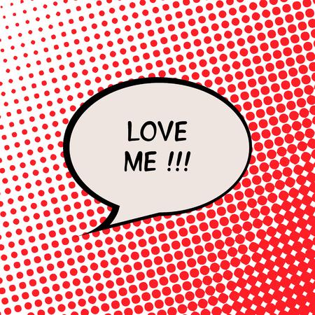 Love Me Valentine Card with Comics Halftone Effect Illustration