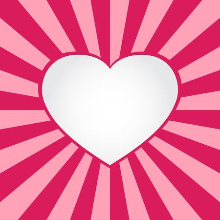 Valentine card with big heart and rays background vector Illustration