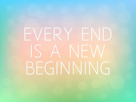 Elke End is een nieuw begin Motivatie Citaat Typografie Verse Kleurrijke Vage Achtergrond Vector