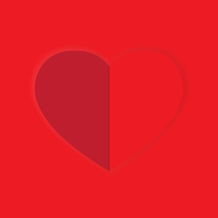 Valentine love card with paper heart vector