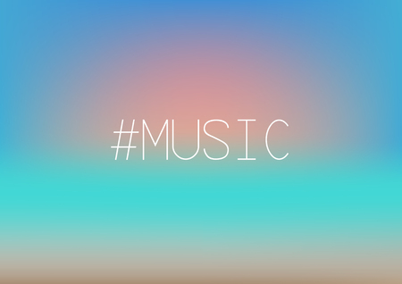 Music hashtag. Sunset on blurred background . Beach, sand, sea, sun and sky fuzzy concept.