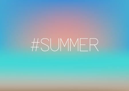 Summer hashtag. Sunset on blurred background . Beach, sand, sea, sun and sky fuzzy concept.