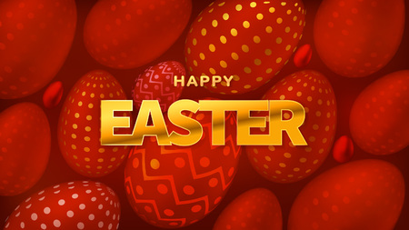 Happy Easter. Postcard or Banner. Realistic Holiday Egg with Golden Textures.
