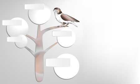 Ecology Infographic. Realistic bird. Vector. Bright textures. Illustration can be used in the advertisements, banners, websites. Bird sits on a tree. Futuristic. Simple style. Landing page.