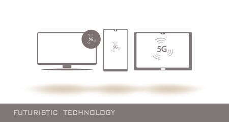 TV, mobile phone and laptop icons with 5G internet logo. Futuristic tecnology line icons. 5G internet technology. Vector illustration. Grey color. Flat style. Simple design. Çizim