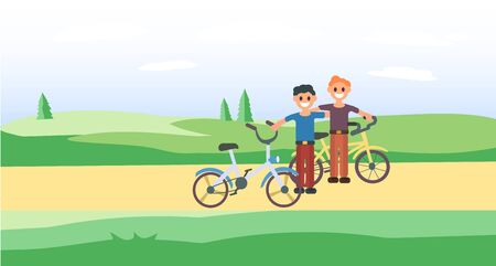 Two brothers with bicycles. Friends trip. Summer trip. Sport. Cartoon style. Friends are traveling by bicycle. Green grass background. Friendship Young boys. Teenagers