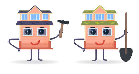 Revived house. Small house holds hammer and shovel. Cartoon and flat character. Preparation for spring cleaning of garden and remoting of private house. Vector stock illustration. Vektorové ilustrace