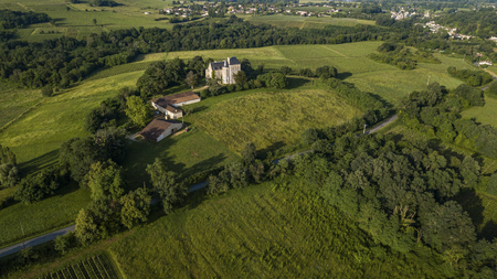 Aerial view of campaign landscape in the French countryside, Rimons, Gironde, France