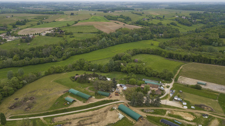 Aerial view of a farm in french countryside