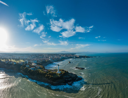 Aerial view Lighthouse in Biarritz, Pays basque, Pyrennees Atlantique, France