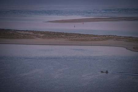 Aerial view of a motorboat near the Banc Arguin at Arcachon in France, Gironde, Aquitaine