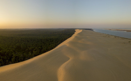 Aerial View Dune of Pilate, France. Gironde, Arcachon Basin, Aquitaine, the largest sandy desert in Europe