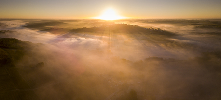 Aerial view, Bordeaux vineyard, landscape vineyard and fog at sunrise south west of france Stock Photo