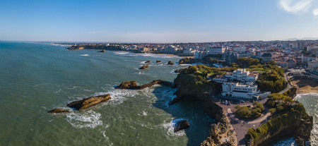 Biarritz city and its famous sand beaches, Miramar and La Grande Plage, Bay of Biscay, Atlantic coast, Pays Basque, France