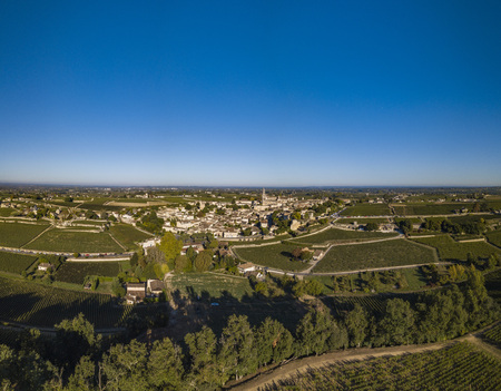 Aerial View Bordeaux vineyards, Saint-Emilion, Aquitaine area of the Gironde department, France, Europe.