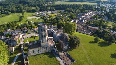 Aerial view Abbey de la Sauve-Majeure, Route to Santiago de Compostela, Gironde, France.