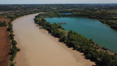 Aerial view of garonne and a lake in summer, cadillac, france Stock Photo