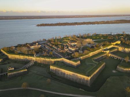 Aerial view, Blaye Citadel, UNESCO world heritage site in Gironde, Aquitaine, France Banco de Imagens