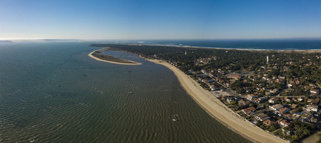 Aerial view, Fishing Village and Mimbeau Beach, Cap Ferret, Arcachon Basin, Lege Cap Feret, Gironde