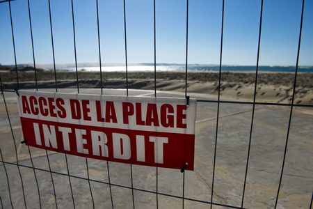 Aerial View, Erosion of the coastline, prohibited beaches, Oceane Beach, Cap Ferret, France