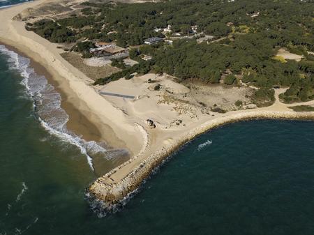 Aerial View, Erosion of the coastline at the tip of Cap Ferret, Bay of Arcachon, Sand Dune, Gironde, Aquitaine