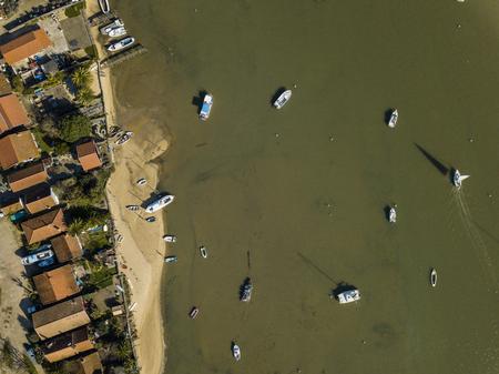 Aerial view, Fishing Village and Mimbeau Beach, Cap Ferret, Arcachon Basin, Lege Cap Feret, Gironde