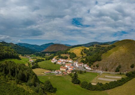 Aerial view, Basque Country, Aldudes Valley, the village of Urepel, Pyrénées-Atlantiques, France, Europe Stock Photo