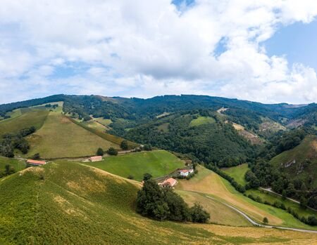 Aerial view, Basque Country, Aldudes valley, mountain pastures in the heights of Urepel, Pyrénées-Atlantiques, France, Europe