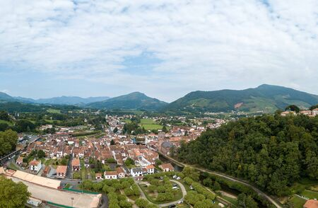 Typical landscape of Pays Basque, Saint Jean Pied de Port in the south of France, Europe