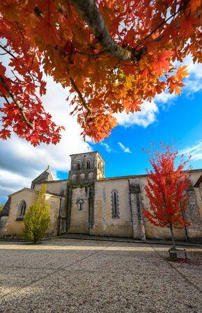 France, Charente, Lignières-Sonneville, Notre-Dame de Lignières parish church, listed building, Cognac vineyard