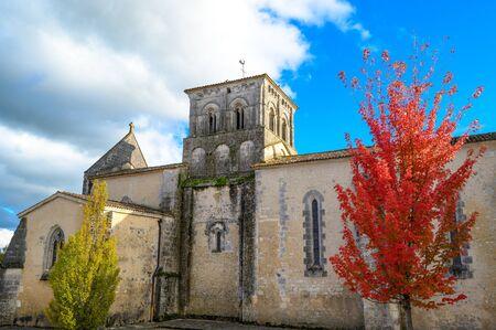 France, Charente, Lignières-Sonneville, Notre-Dame de Lignières parish church, listed building, Cognac vineyard Zdjęcie Seryjne