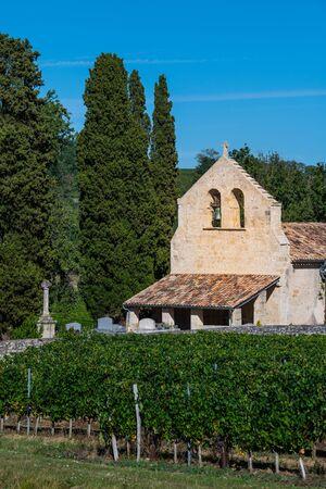 CHURCH OF BOSSUGAN BORDEAUX VINEYARD, GIRONDE, AQUITAINE, FRANCE
