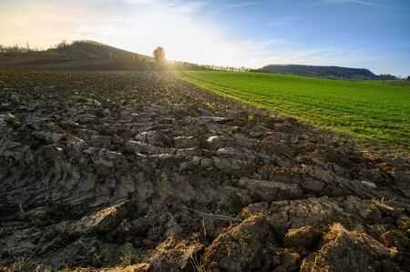 FARMER AND TRACTOR PLOW FIELD AT SUNSET, LOT ET GARONNE, FRANCE, EUROPE