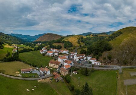 Aerial view, Basque Country, Aldudes Valley, the village of Urepel, Pyrénées-Atlantiques, France, Europe